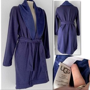 UGG Intimates & Sleepwear - UGG BLANCHE BLUE HEATHER FLEECE LINED ROBE SZ S